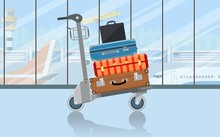 Airport Baggage Trolley With S...