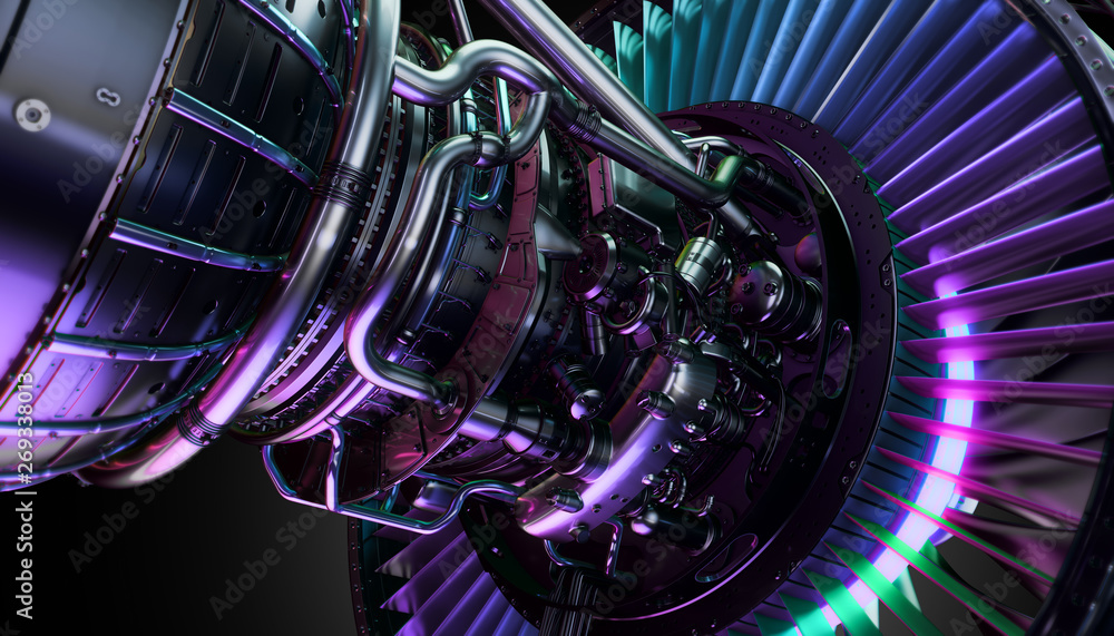 Fototapety, obrazy: Part of real airplane turbine, 3d illustration