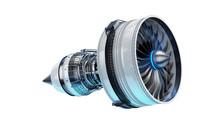 Part Of Real Airplane Turbine, 3d Illustration