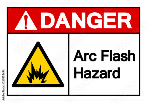 Danger Arc Flash Hazard Symbol Sign, Vector Illustration, Isolate On White Background Label Canvas Print