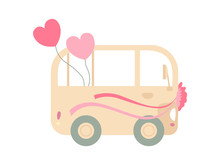 Vintage Van Decorated With Ribbons, Romantic Wedding Retro Mini Bus With Hearts, Side View Vector Illustration