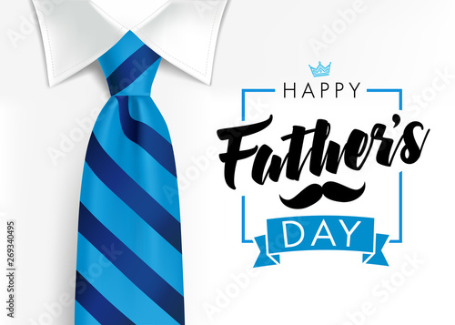 Fototapeta Happy father`s day calligraphy greeting card. Fathers Day vector lettering background with blue tie and white shirt obraz na płótnie