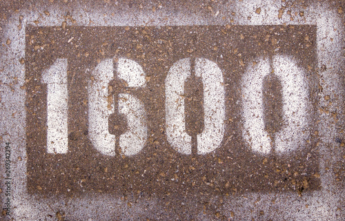 the numbers on the asphalt 1600 Wallpaper Mural