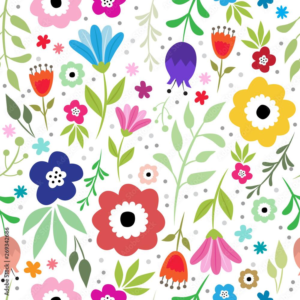Floral, slavic vector pattern.