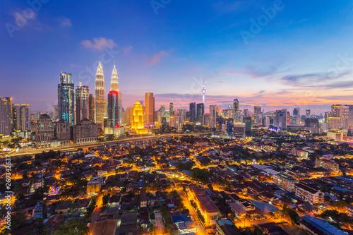 Canvas Prints Kuala Lumpur City of Kuala Lumpur, Malaysia with ariel view at sunset