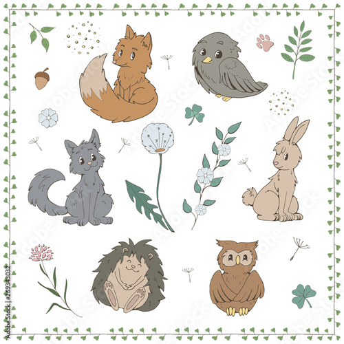 Set of cartoon forest animals and flowers for kids isolated on white