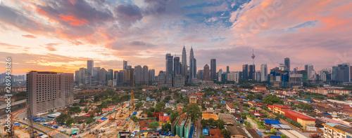 Photo Stands Kuala Lumpur City of Kuala Lumpur, Malaysia with ariel view at sunrise