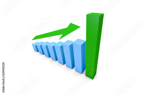 Fotomural Business Growth Increasing Chart with Green Arrow