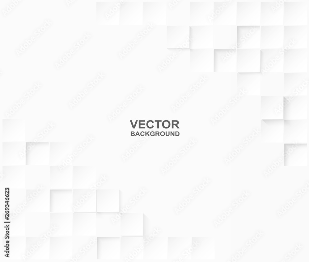 Fototapeta Abstract. Embossed paper square white Background ,light and shadow .Vector.