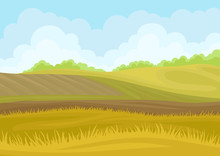 Plowed Field In The Hills. Vector Illustration On White Background.