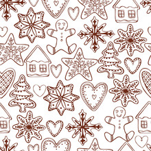 Hand Drawn Ginger Cookies.  Vector  Seamless Pattern