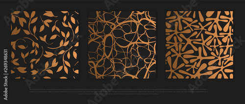 Fotografia Vector set of design elements, labels and frames for packaging for luxury products in trendy linear style
