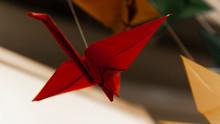 Yellow Blue Red Origami Bird Stork
