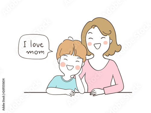 Draw happy boy saying I love mom in speech bubble  - Buy this stock