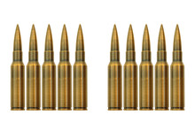 Bullets Lined Up On A White Ba...