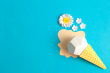 Ice Cream In Waffle Cone And Flowers Made Of Paper