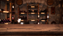 Defocused Dark Wine Cellar Bac...
