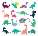 Fototapeta Dinusie - Funny cartoon dinosaurs collection. Vector illustration