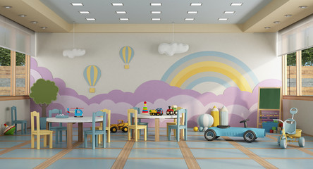 kindergarten class without childs - 3d rendering