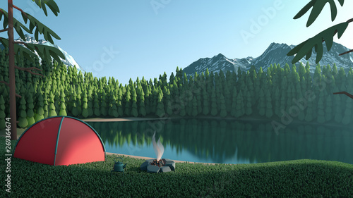Obraz 3d illustration of summer tourist camp in the forest near the lake. Green landscape of pines reflected in the lake. Campfire and tourist red tent on river bank. Natural background with mountains - fototapety do salonu