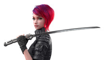 Portrait Of A Young Beautiful Cyberpunk Girl Looking At The Camera And Holding A Futuristic Japanese Samurai Sword On Shoulder. Woman With Short Red Hair And Blue Eyes. 3d Render On A White Background