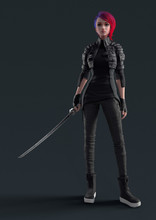 Cyberpunk Girl In A Leather Jacket Standing And Holding A Futuristic Katana In One Hand. Urban Woman With Short Red Hair With Japanese Samurai Sword Looking At The Camera. 3d Render On Gray Background