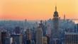 Panoramic view on Manhattan at sunset, New York City.