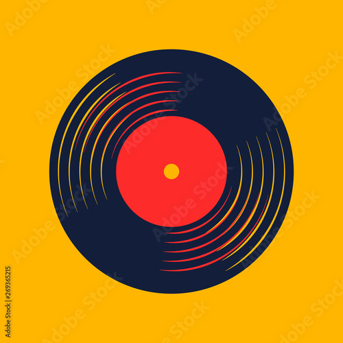 Fotomural vinyl record music vector with vinyl record word