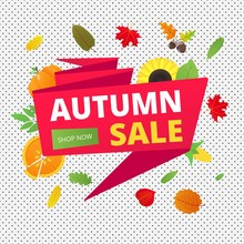 Autumn Sale Vector Banner Or Poster Gradient Flat Style Design Vector Illustration. Huge Red Ribbon With Text AUTUMN SALE, Colored Leaves, Pumpkin, Sunflower, Pie And Corn Isolated On Fun Background.
