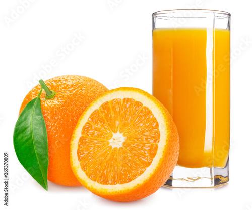 Orange fruit with juice on white background