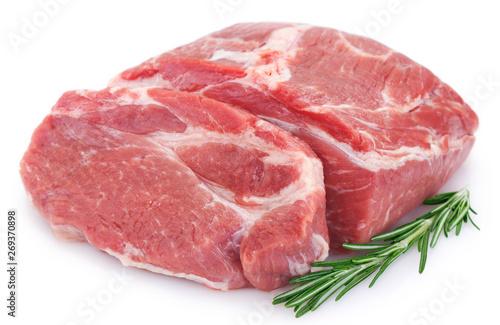 Fotografia  Raw pork on white background