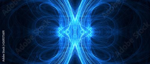 Fototapety, obrazy: blue circular wave glow. kaleidoscope lighting effect.
