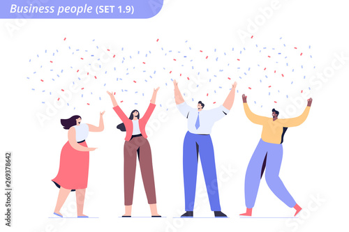 People celebrate success together. Business team have fun. Flat vector characters isolated on white background.