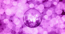Party Disco Mirror Ball Reflecting Purple And Blue Lights