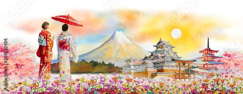 Foto auf Leinwand Beige Famous landmarks of Japan in spring.