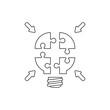 Vector icon concept of four light bulb puzzle pieces.