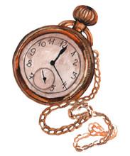 Watercolor Vintage Clock. Retr...
