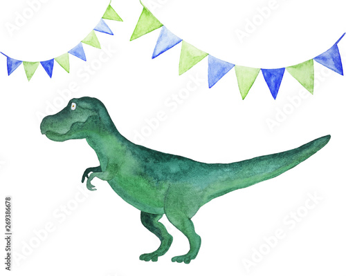 Photo  Watercolor illustration with Tirex dinosaur and holiday flags isolated on white background