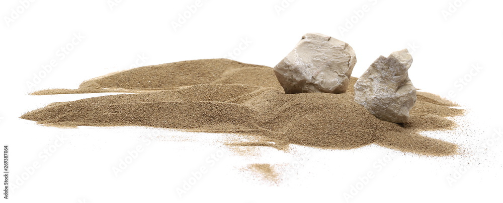 Fototapety, obrazy: Rocks in sand pile isolated on white background and texture