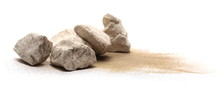 Rocks In Sand Pile Isolated On...