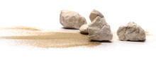 Rocks In Sand Pile Isolated On White Background And Texture