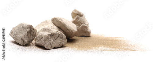 Poster Spa Rocks in sand pile isolated on white background and texture