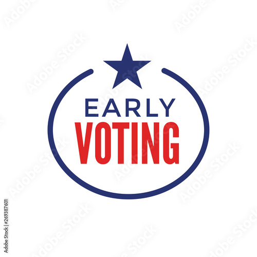 Early Voting Icon with Vote, Icon, and Patriotic Symbolism and Colors Fototapet