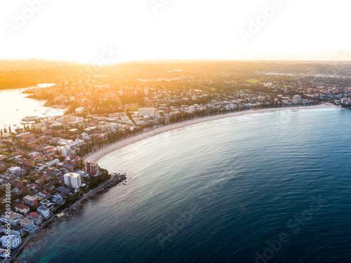 Valokuvatapetti Aerial evening sunset drone shot of Manly, a beach-side suburb of northern Sydney, in the state of New South Wales, Australia