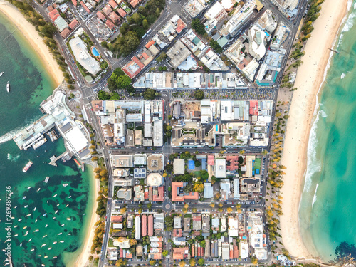 Leinwand Poster Vertical bird's eye aerial drone panoramic view of the oceanside suburb of Manly, Sydney, New South Wales, Australia