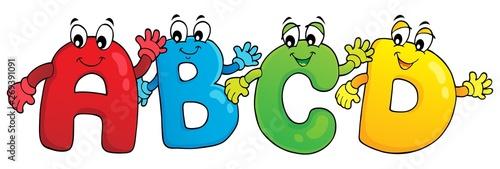 Fotobehang Voor kinderen Cartoon ABCD letters theme 3
