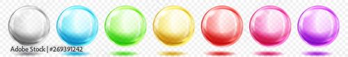 Valokuvatapetti Set of translucent colored spheres with shadows on transparent background