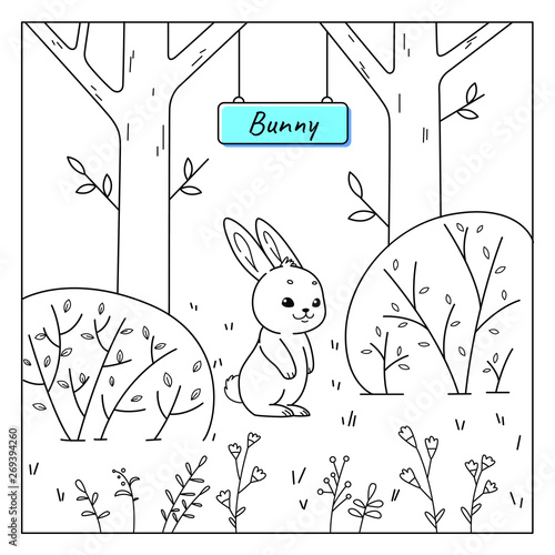 Good bunny sitting in grass. Coloring book for kids. Cartoon vector illustration for prints, posters, t-shorts and postcards.