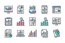 Statistics Related Color Line Icon Set. Data Report Linear Icons. Presentation Stats And Infographic Diagram Colorful Outline Vector Sign Collection.