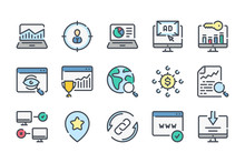 Search Engine Optimization Related Color Line Icon Set. Business And Marketing Linear Icons. SEO Colorful Outline Vector Sign Collection.